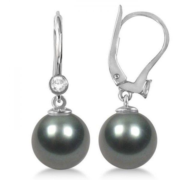Allurez 14kt White Gold Round Pearl & Diamond Dangling Earrings dC4GH