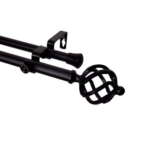 Twist Black 120 To 170 Inch Double Curtain Rod Double Rod