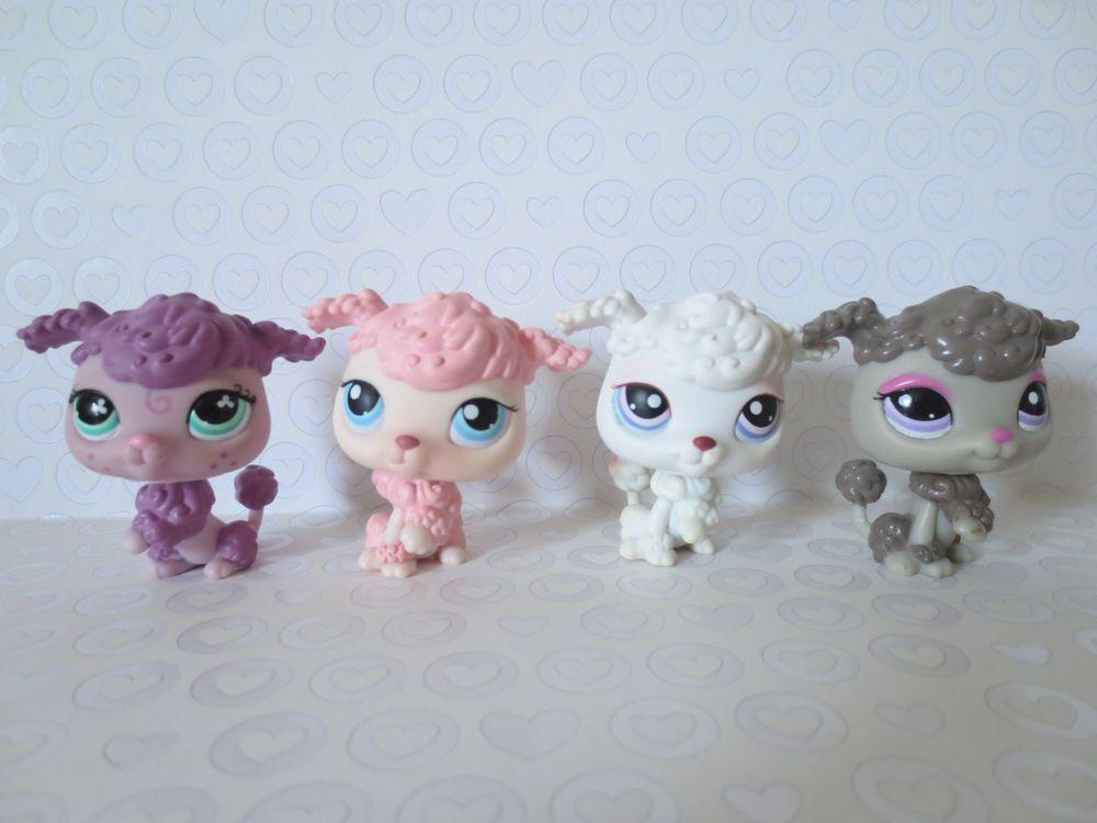 Littlest Pet Shop Lot Of 4 Poodle Dogs Pink White Purple 561