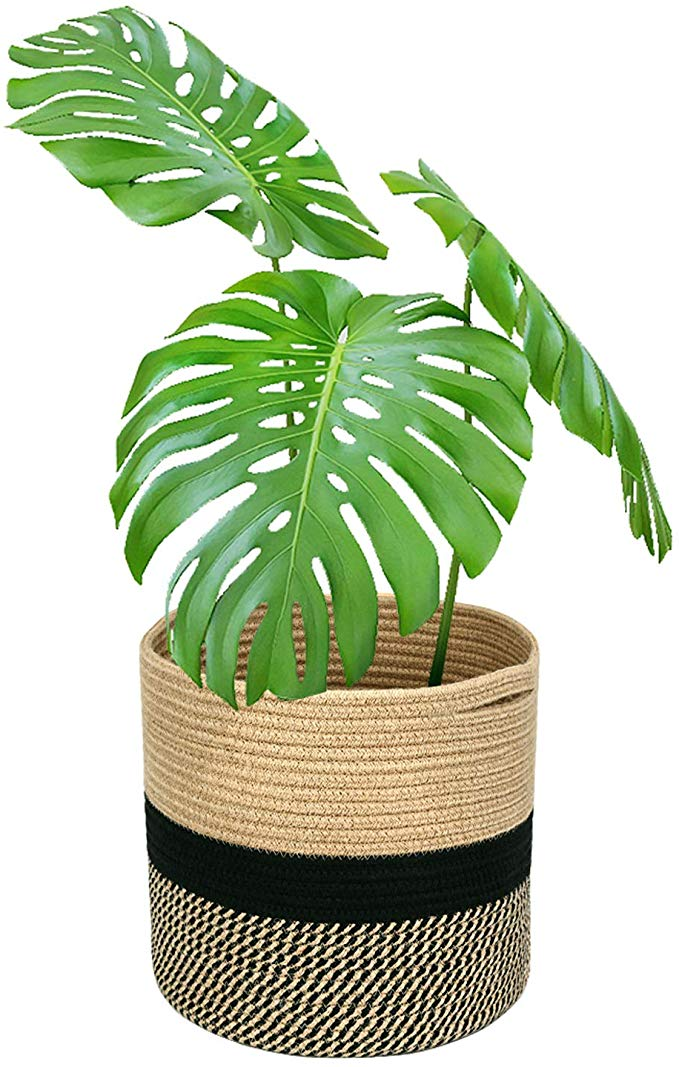 Amazon Com Magicfly Jute Rope Plant Basket 12 X 12 Inch Cotton Rope Woven Basket For 11 Inch Flower Pot Floor Indoo With Images Plant Basket Flower Pots Indoor Planters