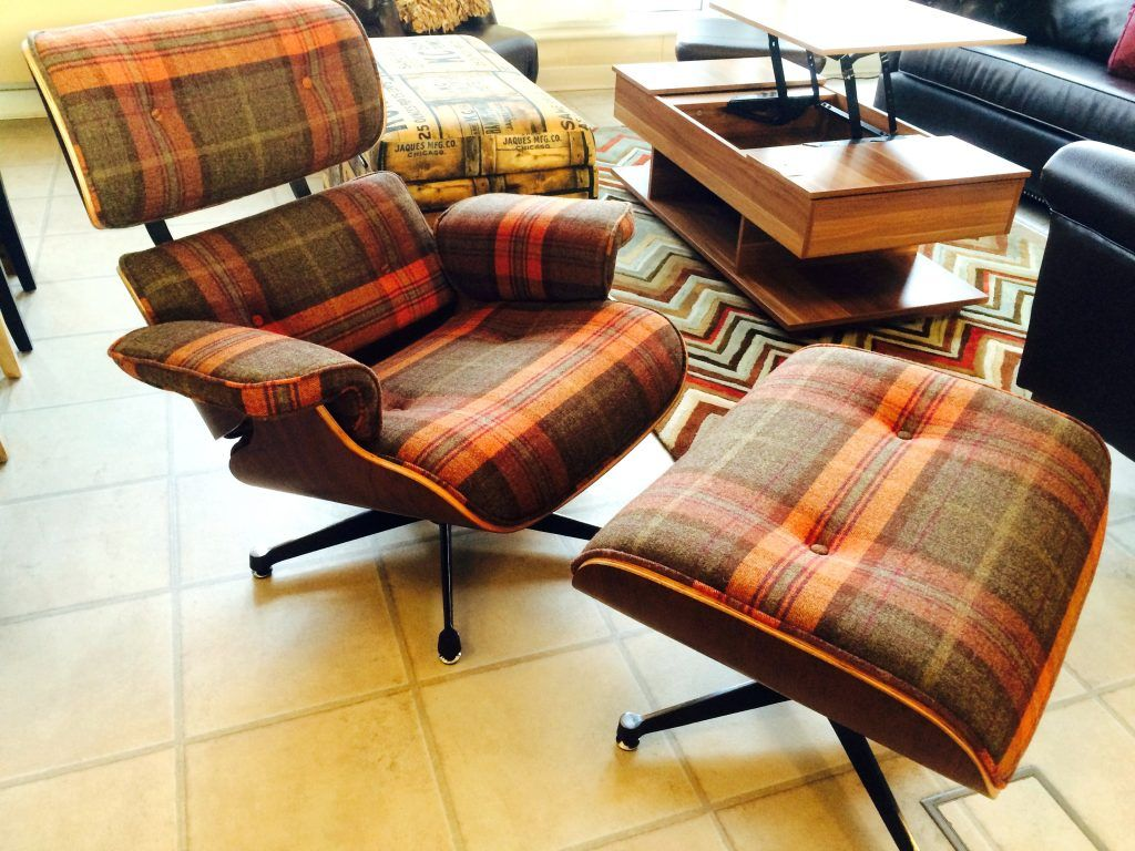 Chair Tartan Fabric Eames Lounge Chair And Ottoman Charles Style