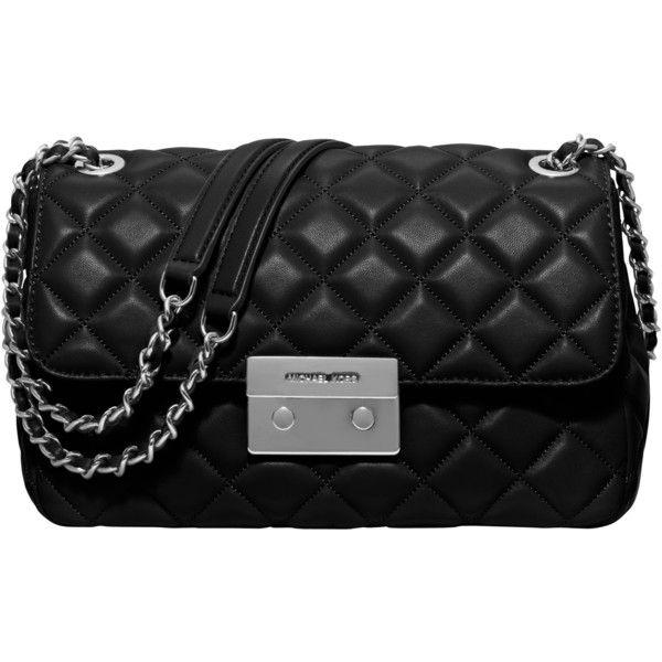 MICHAEL Michael Kors Sloan Large Leather Chain Shoulder Bag, Black ...
