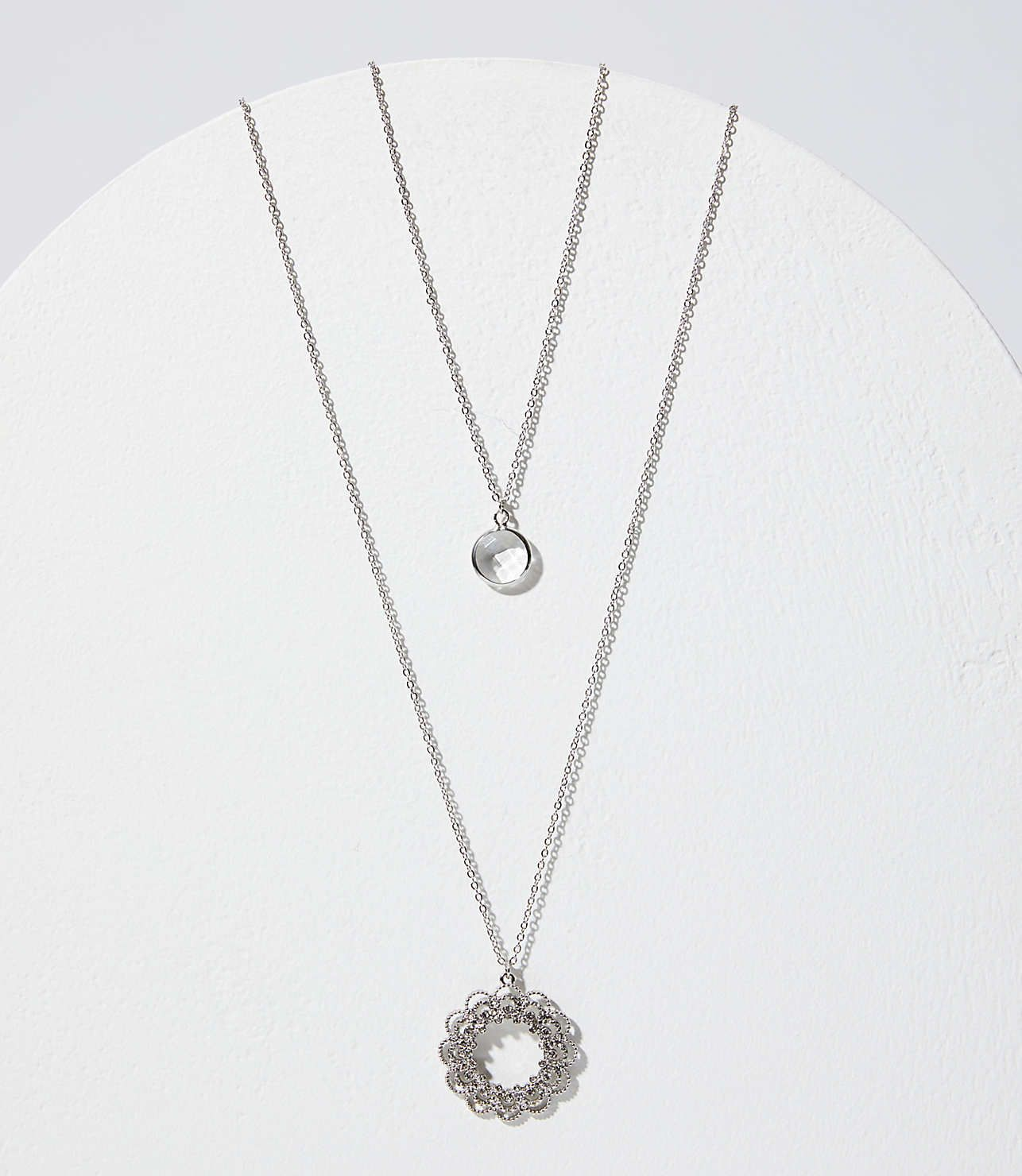 35fd6bbbcd0a0 Layered Crystal Filigree Pendant Necklace | LOFT | Loft | Pendant ...