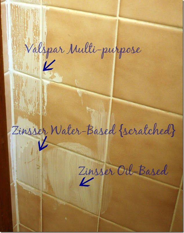 Painting tile in bathroom use zinser oil based primer for Good tiles for bathroom