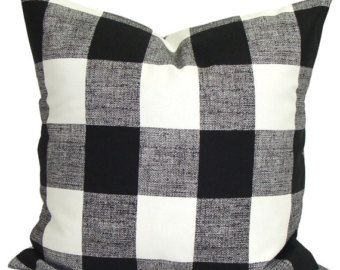 20x20 Pillow Cover Fennco Styles Buffalo Check Plaid Cotton Throw Pillow Red, 20x20 Pillow Cover