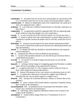 Worksheets Constitutional Amendments Worksheet students will practice using constitution related vocabulary 20 worksheet