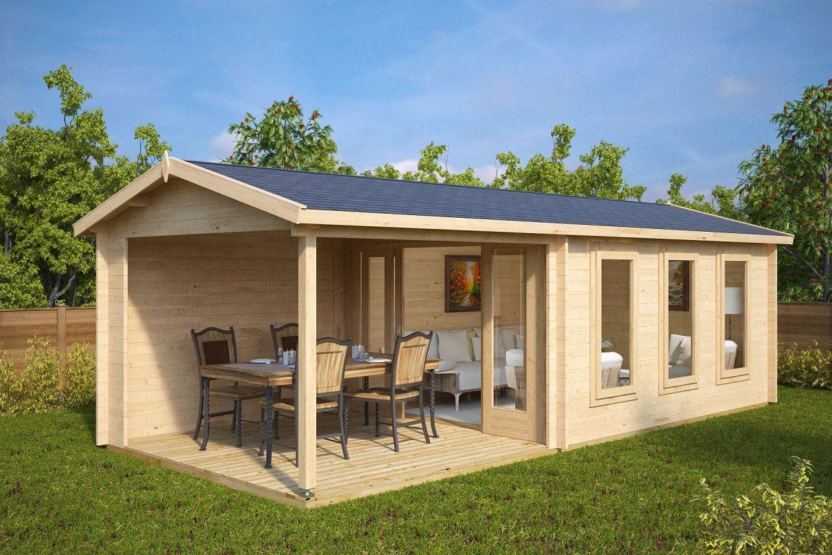Gartenhaus mit Veranda Eva E 12m² / 44mm / 3x7 | Moderne