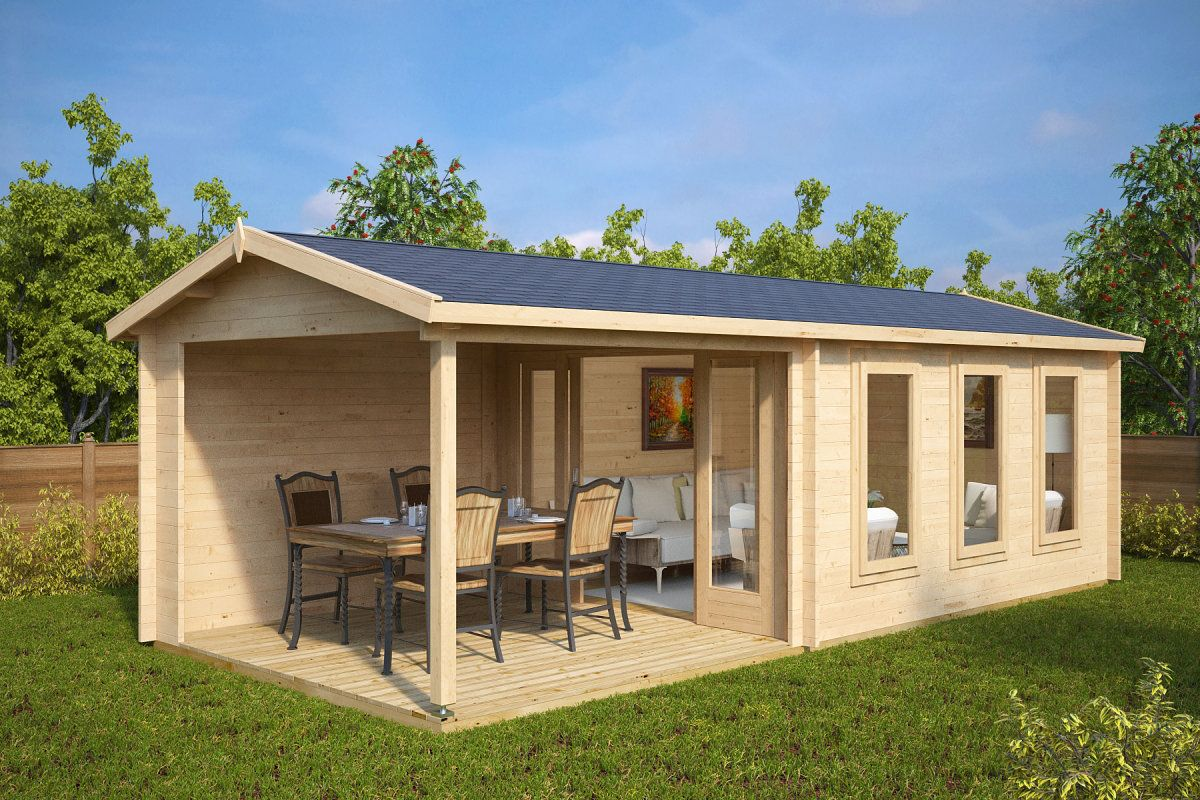 gartenhaus mit veranda eva e 12m 44mm 3x7 - Fantastisch Moderne Gartenhuser