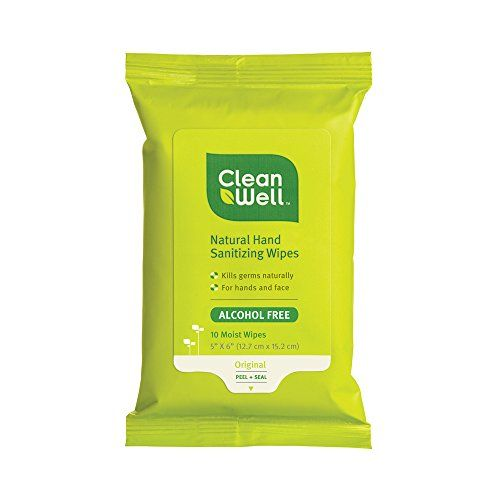 Cleanwell All Natural Hand Sanitizing Pocket Pack Wipes 10count