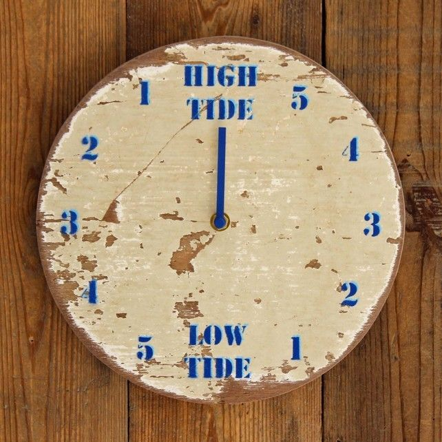 driftwood tide clock painted white and blue - Tide Clock