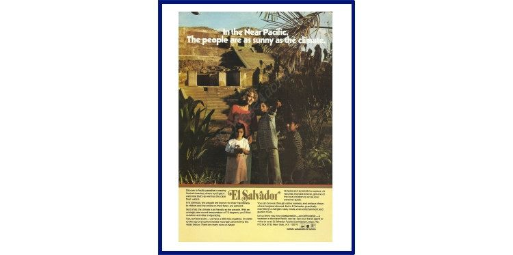 """EL SALVADOR Original 1974 Vintage Color Print Ad - """"In The Near Pacific. The People Are As Sunny As The Climate."""" by VintageAdOrama on Etsy"""
