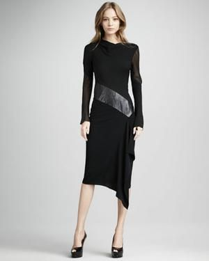 Diane von Furstenberg Sahib Mixed-Media Long-Sleeve Dress