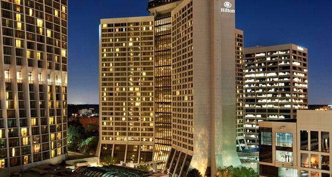 Hilton Atlanta Ga Hotel Night Exterior