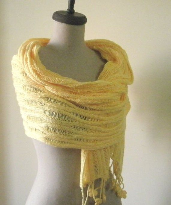 Crochet Lace Wedding Garter Pattern: Knitting Shawl Stole Wrap! Yellow Warm Cozy Very Soft New