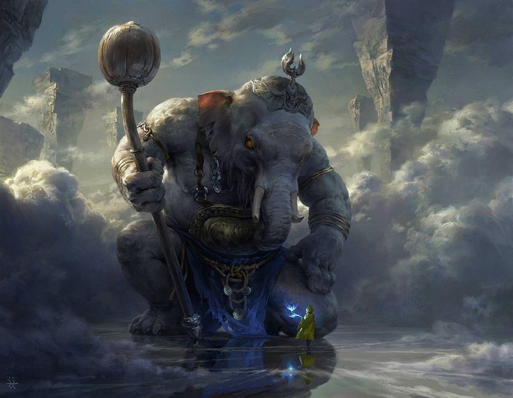 A huge gray elephant on a background of gray clouds