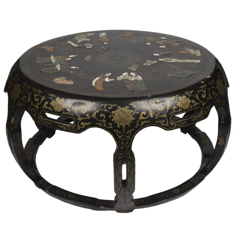 Chinese Black Lacquer Round Coffee Table 1 Round Black Coffee