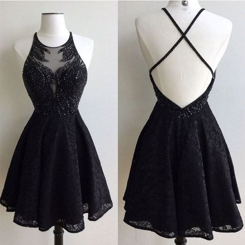 Black round neck lace beaded short prom dress, cute homecoming dress, cute short dress for teens, trend backless prom dress