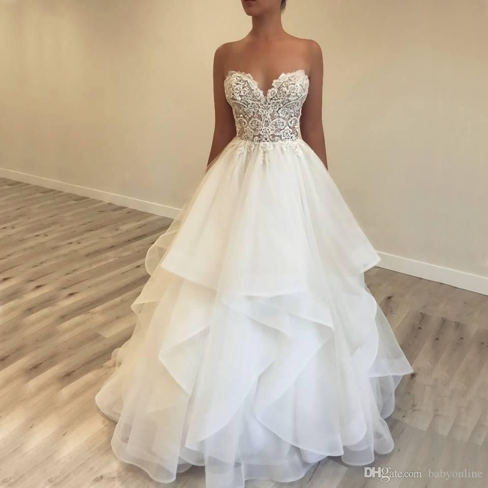 Discount Layers Ruffles Tulle Summer Beach Wedding Dresses Simple White A Line Sweetheart Lace Top Bac Ruffle Wedding Dress Bridal Dresses Wedding Dresses Lace