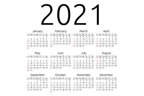 Vector calendar 2021, Sunday | Printable calendar template
