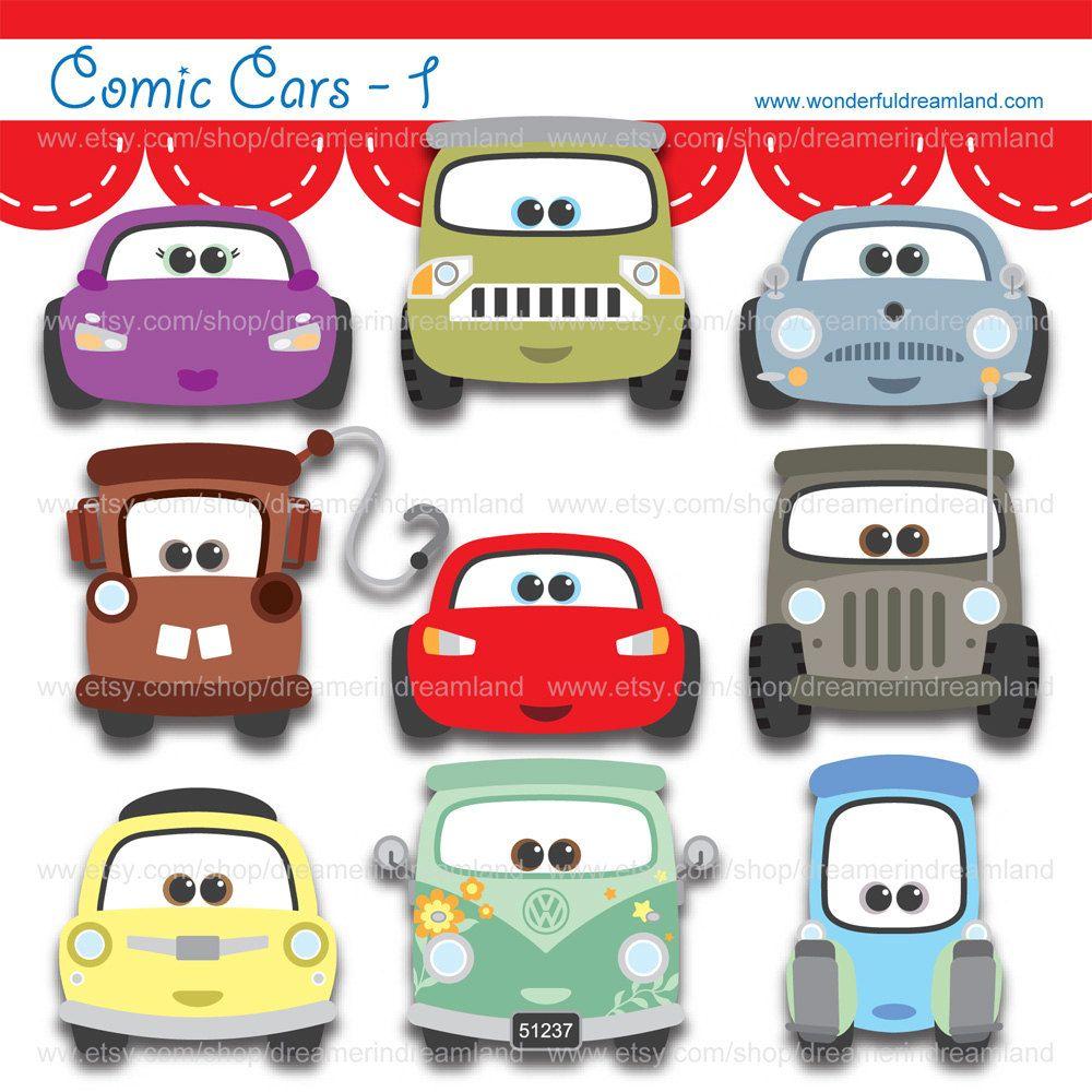 14589c0bc1c486 Comic Cars 1 - PNG SVG EPS Instant Download Printable Cliparts Clip ...
