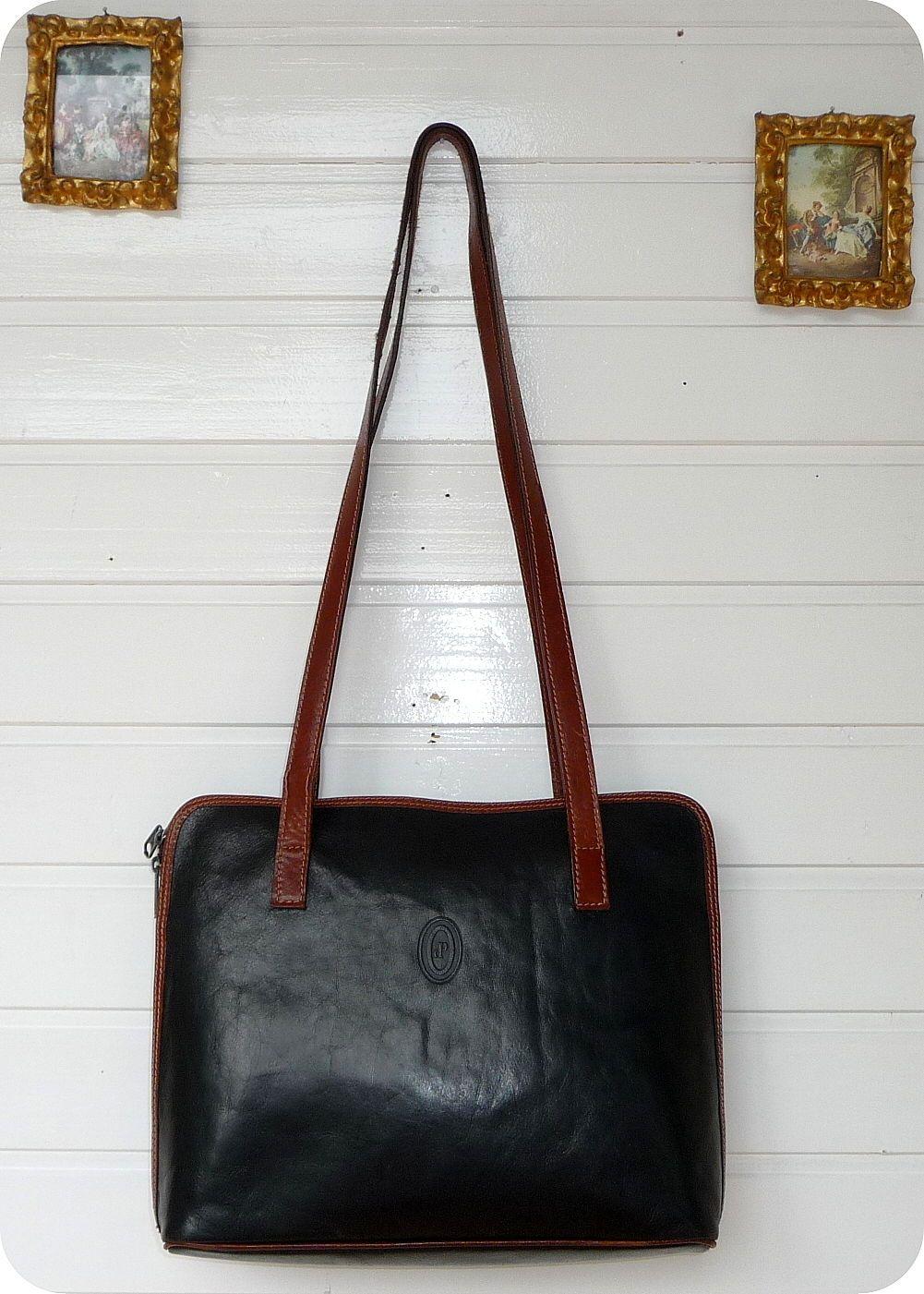 i ponti leder shopper schultertasche tasche bag handtasche schwarz umh ngetasche ebay. Black Bedroom Furniture Sets. Home Design Ideas