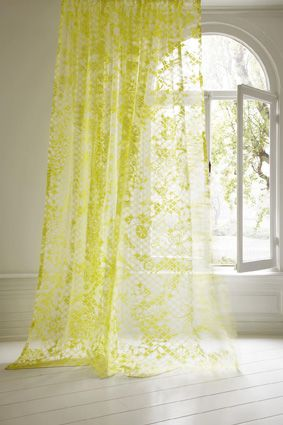 Sheer Lace In Neon Yellow Home Accent Curtains