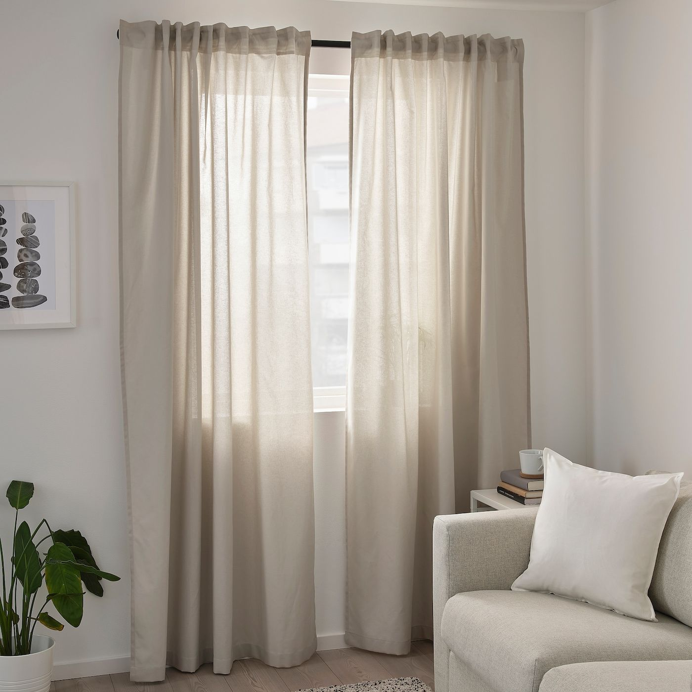 Annalouisa Curtains 1 Pair Beige 57x98 Ikea In 2020 Beige