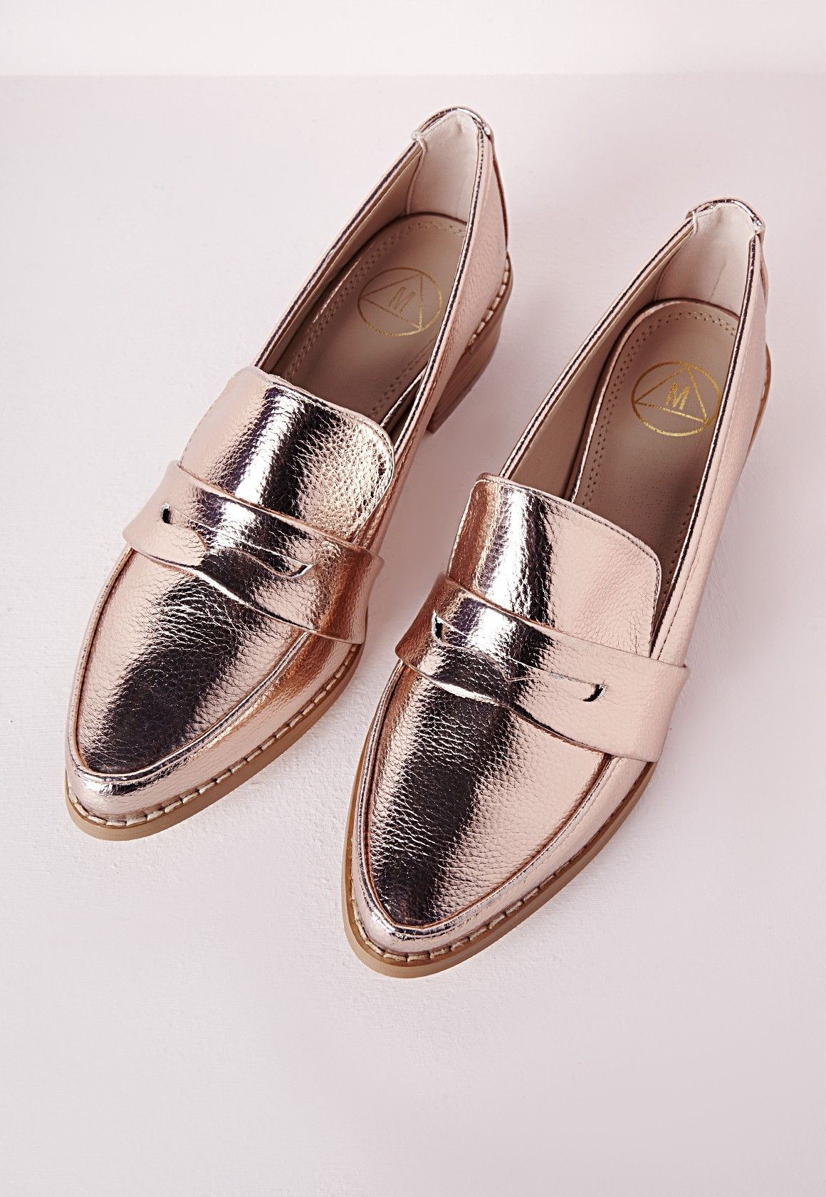 3fce790ade3caa Missguided - Metallic Penny Loafers Rose Gold