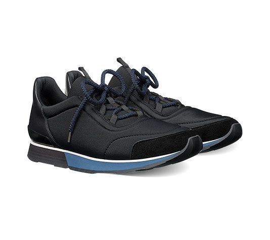 Miles Hermes men's sneaker in suede goatskin, technical canvas and  calfskin, black rubber sole