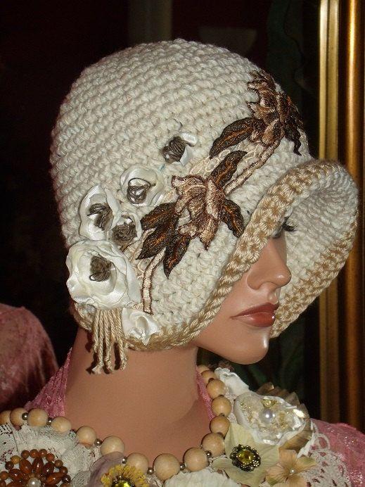 Flapper Hat Cloche 20 style Personalized Headdress Floral Crochet ...