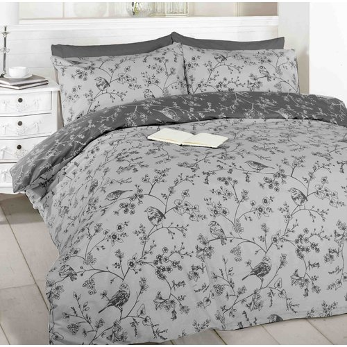Toile Duvet Cover Bedding Set Birds Flowers Reversible Single Double King Bed