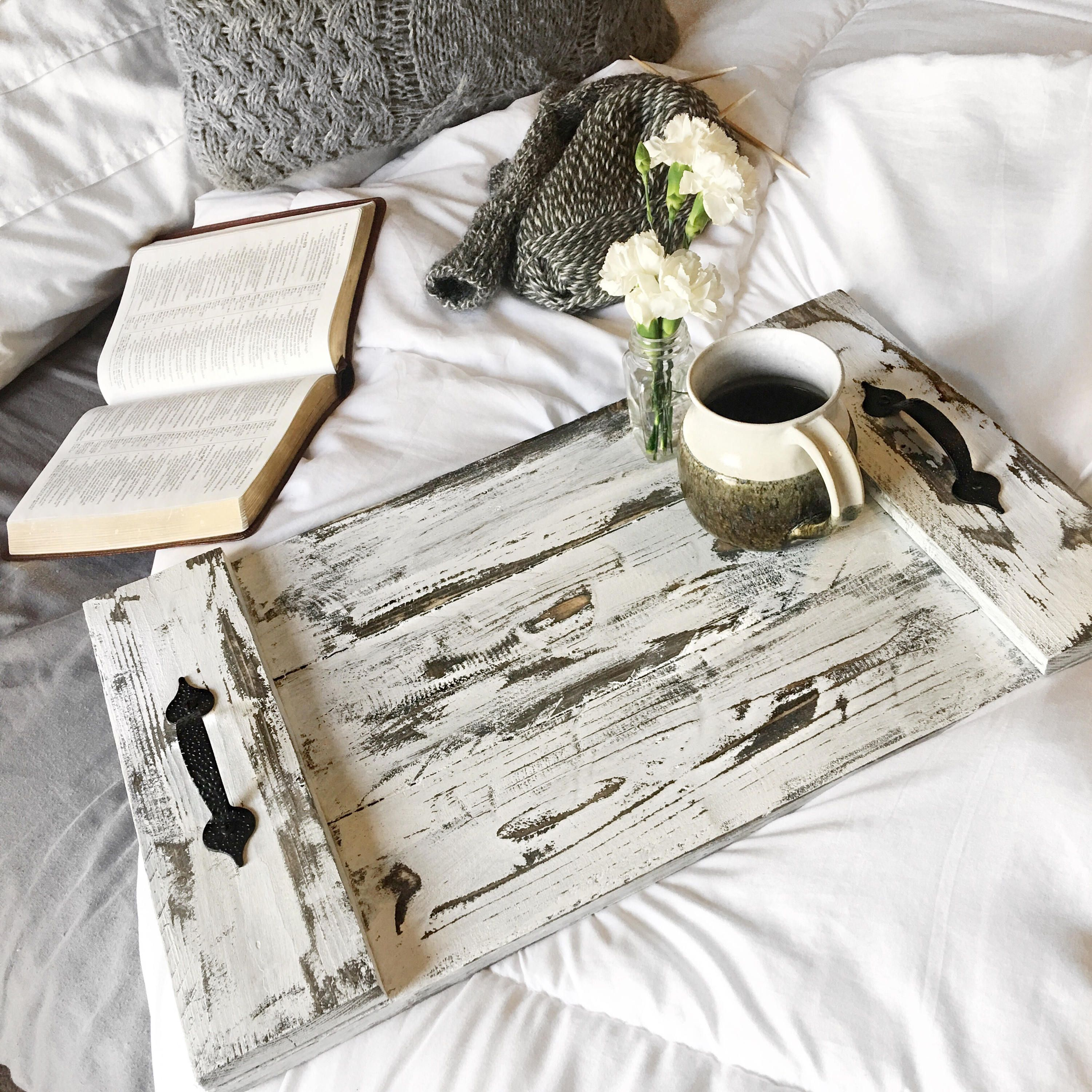Rustic Wooden Serving Tray Gt Gt Sized At Approximately 20x12x3 Gt Gt Handmade By Heart Hooked H Wooden Serving Trays Craft Fair Displays Serving Tray
