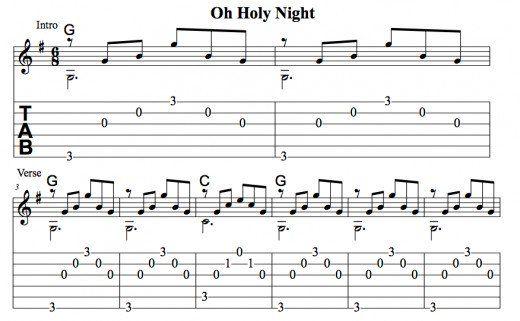 Easy Guitar Christmas Songs Oh Holy Night Arpeggios Chords