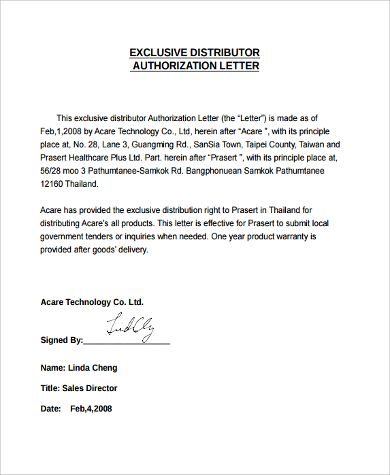 Authorization Letter Sample Examples Word Pdf Why Purchase