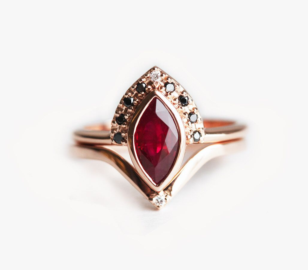 Natural Ruby Engagement Ring Rose Gold Marquise Engagement Ring With Black Diamonds Unique Ruby Set Birthstone Engagement Rings Ruby Wedding Rings Ruby Engagement Ring