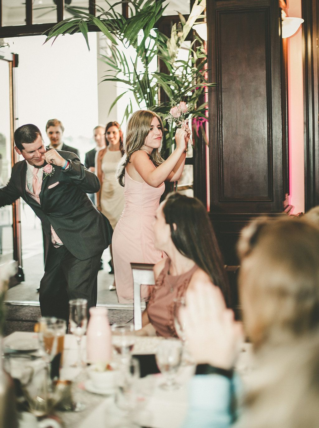 Silly Wedding Ceremony Entrances Introductions Bridal Party Blush And Gold