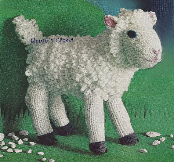 Lamb Knitting Pattern Knitted Toy Mary Had A Little Lamb Vintage