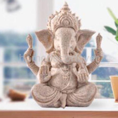 Sandstone Ganesha Elephant Elephant Buddha Statue Hand Carved Figurine