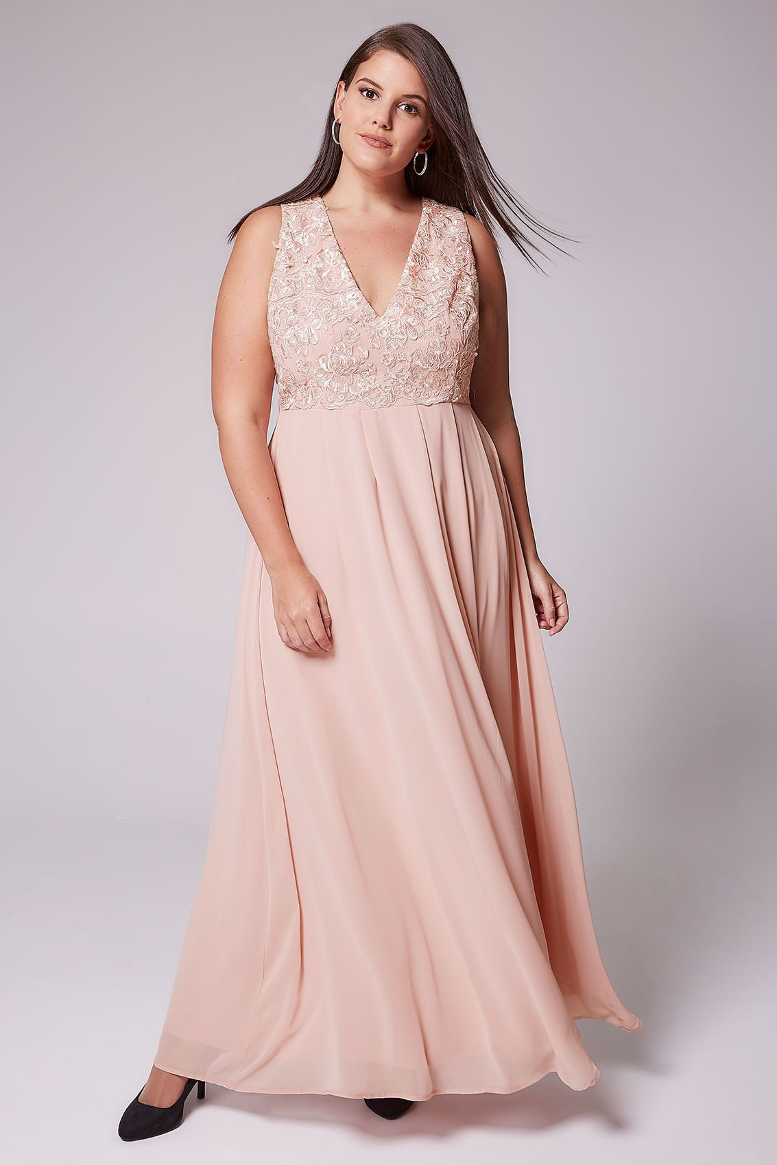 Ax paris curve blush pink maxi dress with lace overlay bodice in