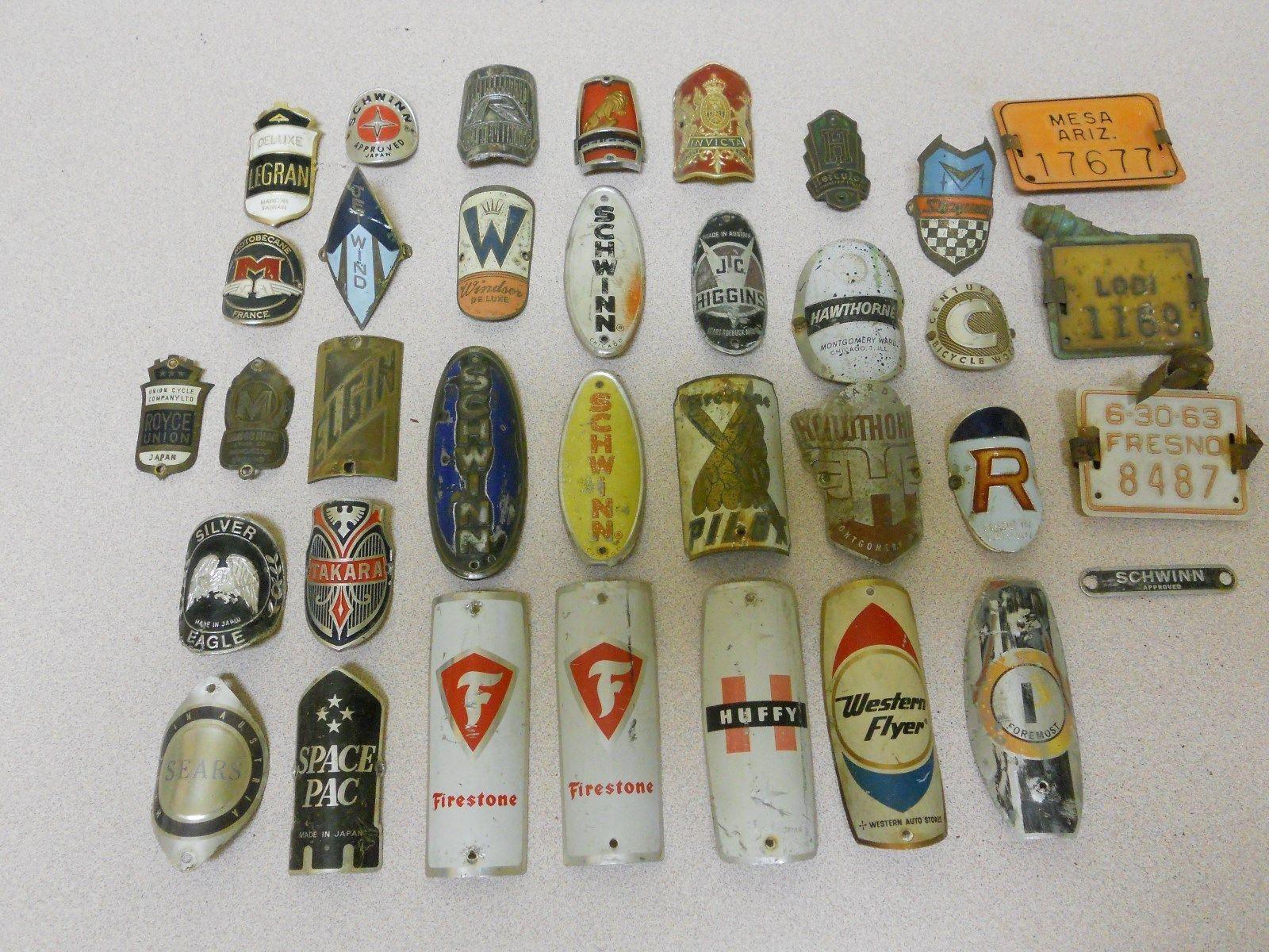 vintage bicycle head badge collection schwinn peugeot pilot