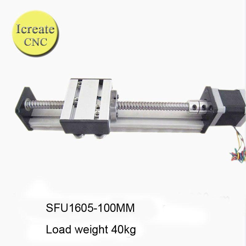 16mm CNC ballscrew RM1605-300mm+BKBF12 end bearing+1 set SBR16 linear slide rail