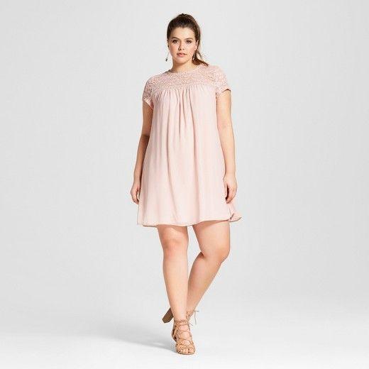 Womens Plus Size Lace Trim Shift Dress Lily Star Lace Trim