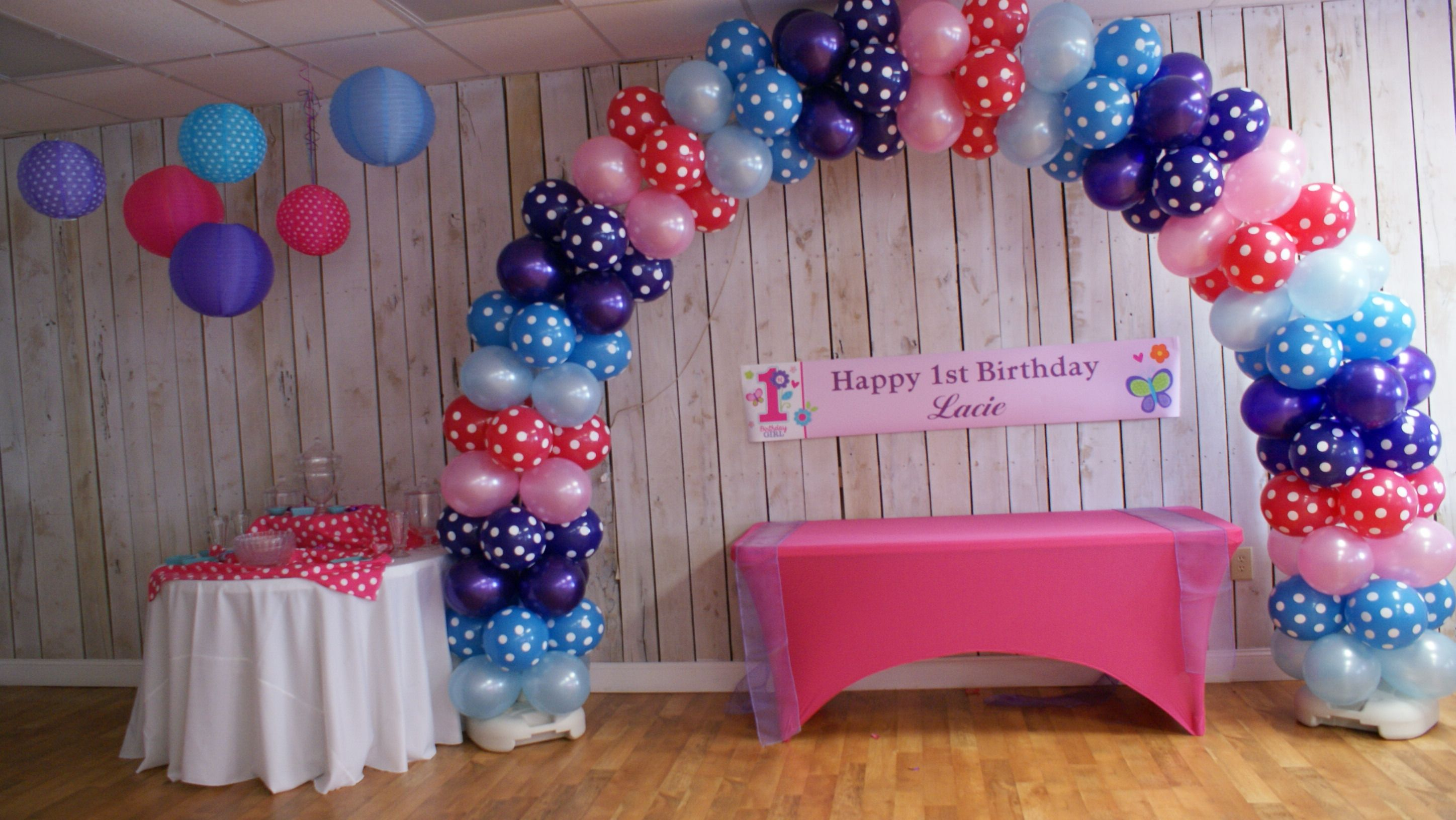 air filled balloon arch shades of blue & pink (With images