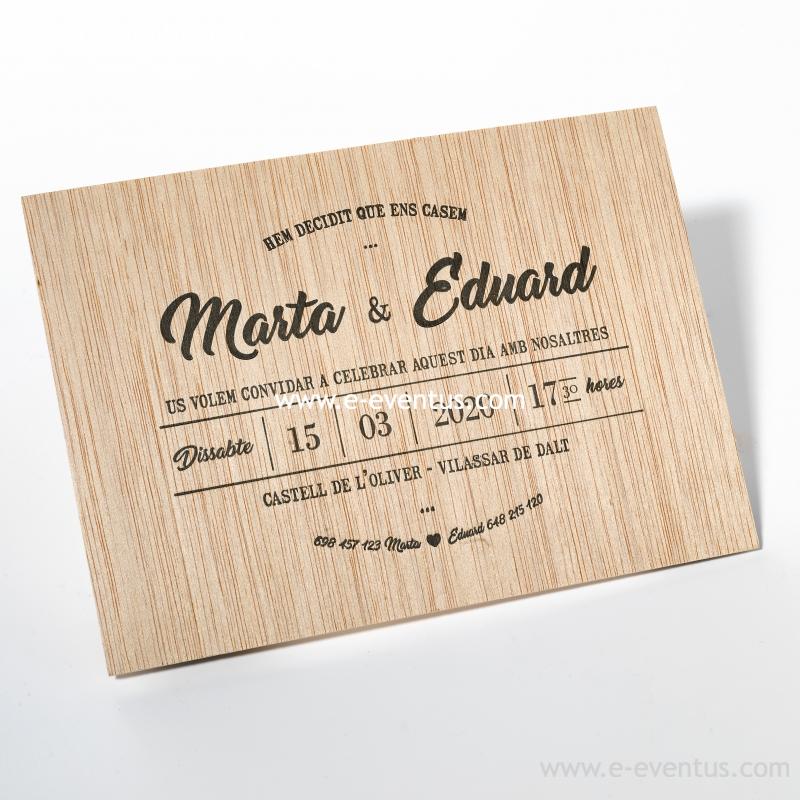 Invitaci n madera invitaci fusta ideas boda - Disenos tarjetas de boda ...