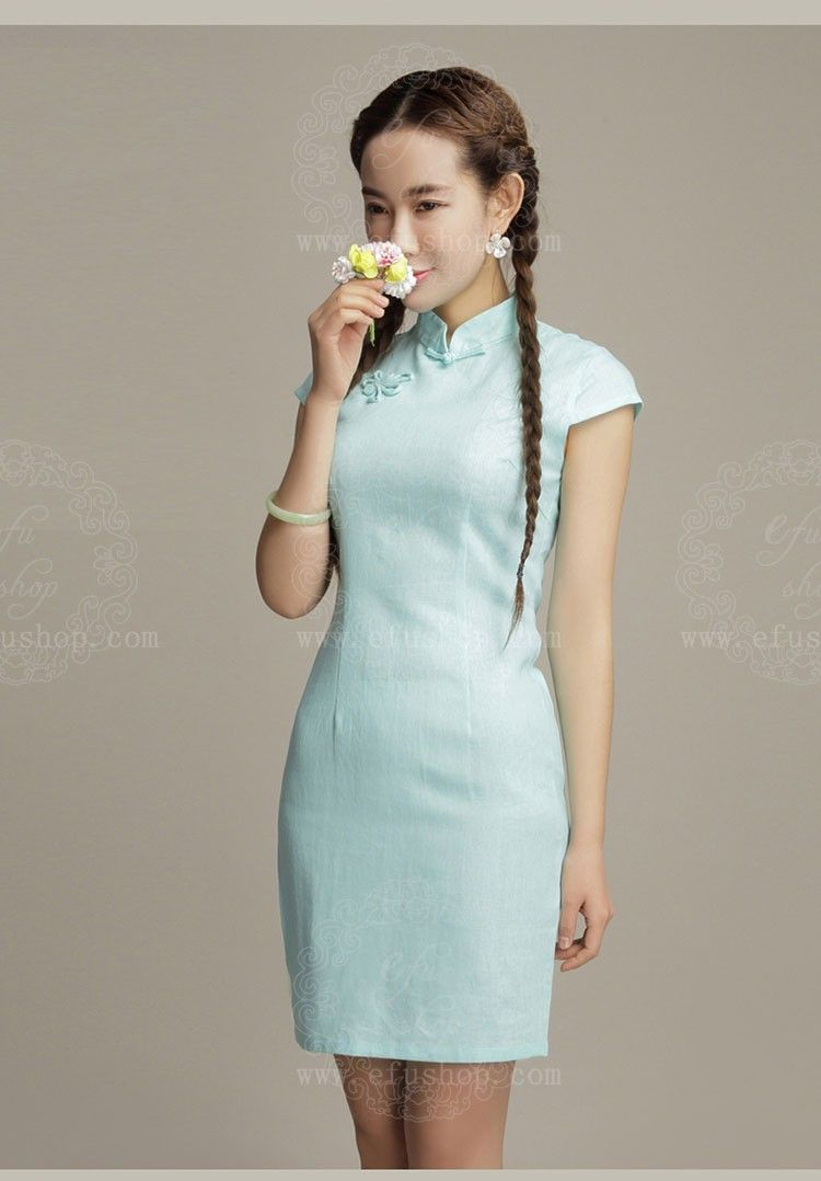 light blue cotton short qipao dress | Modern qipao | Pinterest ...