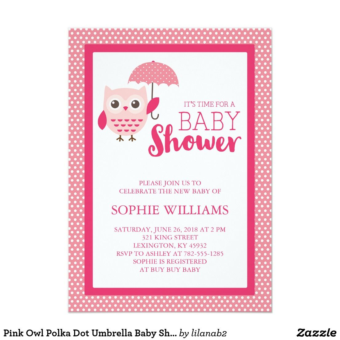 Pink Owl Polka Dot Umbrella Baby Shower Card   Umbrella baby ...
