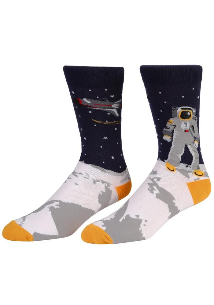 6eace0574b217 Even taking just one small step for man is much more comfortable in these  moon landing socks.