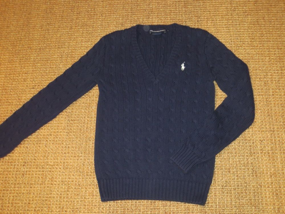 3bc27dc61a3 Polo ralph lauren women's sweater small v - neck cable knit navy ...