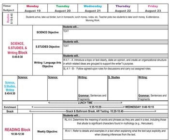 4th Grade Common Core Lesson Plan Template | Lesson plan ...