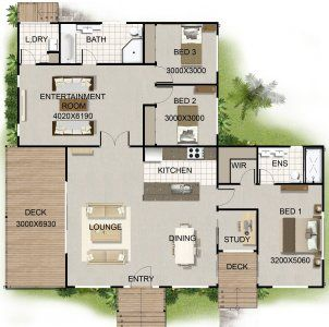 3 Bedroom + Study Home Plan | Bedroom house plans ...